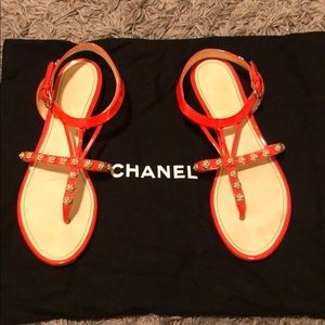 Chanel sandals with gold flowers